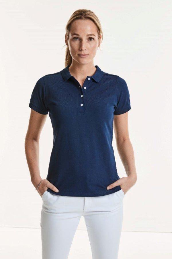 Körperbetontes Damen Stretch Poloshirt ohne Veredelung