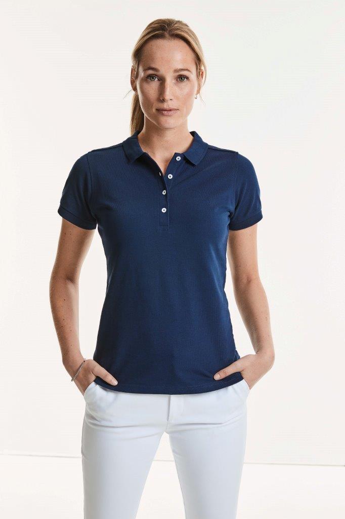 Körperbetontes Damen Stretch Poloshirt mit Logo-Druck