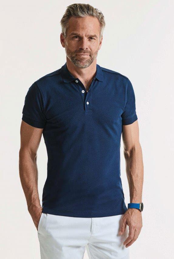 Körperbetontes Herren Stretch Poloshirt mit Logo-Stick